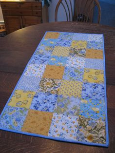 Quilted Table Runner in blue and yellow by WarmandCozyQuilts, $38.00