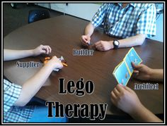 """Lego Therapy Each table consisted of: A Supplier - He is in charge of the parts An Architect - He is in charge of the plans A Builder - His job is to build the model And of course an aide who's job was to gently """"guide"""" them. Lego Therapy, Therapy Tools, Play Therapy, Art Therapy, Speech Therapy, Group Activities, Therapy Activities, Therapy Games, Counseling Activities"""