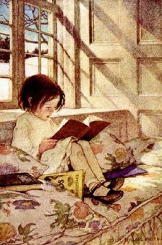 Books In Winter -  by Jessie Willcox Smith (1863 – 1935, American)