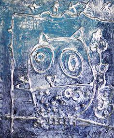 Owl's relief made of liquid glue and aluminum foil. More on www.artboxatelier.com
