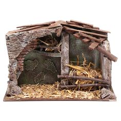 Nativity scene stable with trough and barn 18,5x29x14,5 cm 1