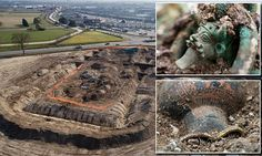 The tomb of an Iron Age Celtic prince has been unearthed in a small French town.  The 'exceptional' grave, crammed with Greek and possibly Etruscan artefacts, was discovered in a business zone on the outskirts of Lavau in France's Champagne region.  The prince is buried with his chariot at the centre of a huge mound, 130 feet (40 metres) across, which has been dated to the 5th Century BC.