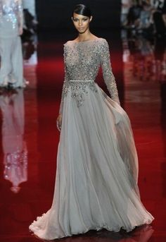NEW Backless Long Sleeve Evening Gown Silver Chiffon Party Prom Celebrity Dress $103.00