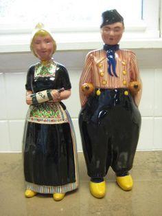Zenith Gouda Bols Dutch Man & Woman Figurines Liqueur Decanter Bottles