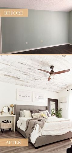 How to Install your Own Reclaimed Wood Ceiling - Master Bedroom Update featured by top Florida lifestyle blog, Fresh Mommy Blog: before and after pictures of master bedroom remodel