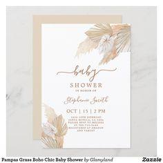 Pampas Grass Boho Chic Baby Shower Invitation Baby Shower Boho, Bebe Shower, Baby Shower Fall, Baby Boy Shower, Diaper Shower, Baby Invitations, Baby Shower Invitations For Boys, Bridal Shower Invitations, Invitation Ideas