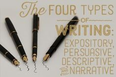 Definitions and explanations of the four types of writing: expository, persuasive, descriptive, and narrative.
