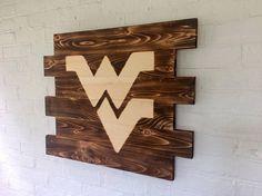 West Virginia University Mountaineers Rustic Wood Sign