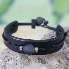 Black Standout Men's African Leather Wristband Bracelet