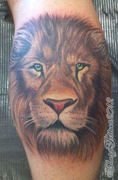 Tatuagem Masculina - Leão, perna
