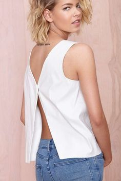 Cutting Corners Top | Shop Tops at Nasty Gal, the front is a simple straight cut with a curved collar neckline