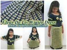 Fleur De Lis Winter Dress - Crochet Tutorial with free pattern from Meladora's Creations
