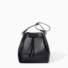 ZARA LEATHER BUCKET BAG WITH CUT WORK DETAIL 129.00 USD