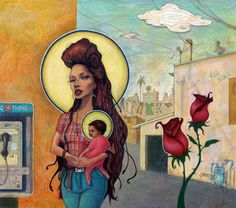 "Thought this was an interesting interpretation of the ""Madonna and Child""      artist: Jeaneen Carlino"