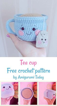 Crochet Teacup free crochet pattern by Amigurumi Today Addicted to amigurumi food and kawaii toys? This crochet pattern is definitely for you! This little cutie will make your day and give a positive spirit! Crochet Amigurumi Free Patterns, Crochet Animal Patterns, Stuffed Animal Patterns, Crochet Dolls, Knitting Patterns, Crochet Animal Amigurumi, Amigurumi Tutorial, Pattern Sewing, Crochet Food