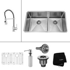 KRAUS All-in-One Undermount Stainless Steel 33 in. 60/40 Double Bowl Kitchen Sink with Faucet and Accessories in Chrome KHU103-33-KPF1612-KSD30CH at The Home Depot - Mobile