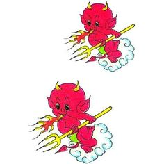 Two Lil Devils Tattoo by Raven. $1.50. 2x2. Temporary Tattoo. In Stock. Two tattoo images of a little red devil breathing fire with a gold devil fork on a cloud.. Save 50% Off!