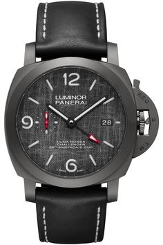 Flying the colours of the America's Cup team, meet three new Panerai Luna Rossa Luminor watches, ref. Fine Watches, Cool Watches, Watches For Men, Luminor Watches, Rolex Watches, Panerai Luminor Gmt, Monochrome Watches, Titanium Watches, Watch News