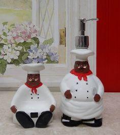 Kitchen Decor African American Bistro Black Happy Chef 3d Scouring Brillo Pad Holder With