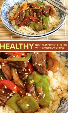 Cauliflower rice is a great low calorie substitute for tradition rice. This beef stir-fry is healthy and delicious. Click through for recipe.