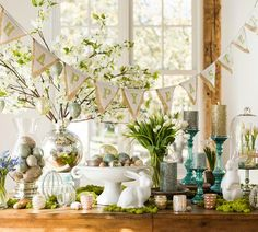 Easter table setting from  Pottery Barn, look at all the elements in the center piece...makes a pretty table  visit me at My Personal blog: http://stampingwithbibiana.blogspot.com/