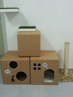 60 x 60 cardboard diy cat house. what a great idea. Cat houses are so expensive and they LOVE boxes anyway :)