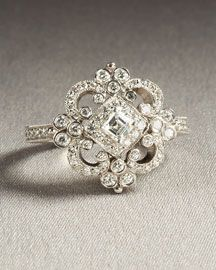 Penny Preville  Natasha Ring  18-karat solid white gold. Asscher-cut center stone, 0.74 carat diamond. Arabesque pave detail. Made in the USA.