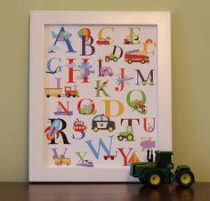 Alphabet Transportation Nursery Wall Art 11x14 Cars by RocketBug