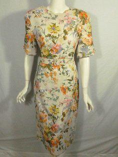 Wild French Flower Garden 1980s Vintage Dress