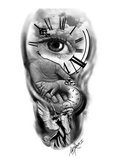Tattoo Lettering Design, Clock Tattoo Design, Tattoo Design Drawings, Tattoo Sketches, Time Piece Tattoo, Pieces Tattoo, Family Tattoo Designs, Family Tattoos, Daddy Tattoos