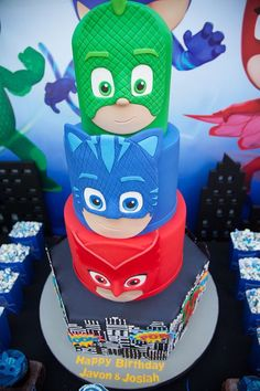 Got a PJ Masks lover out there? Kara's Party Ideas presents a PJ Masks Superhero Birthday Party filled with tons of inspiration! Pj Masks Birthday Cake, Superhero Birthday Party, 4th Birthday Parties, 3rd Birthday, Birthday Ideas, Pjmask Party, Party Ideas, Torta Pj Mask, Festa Pj Masks