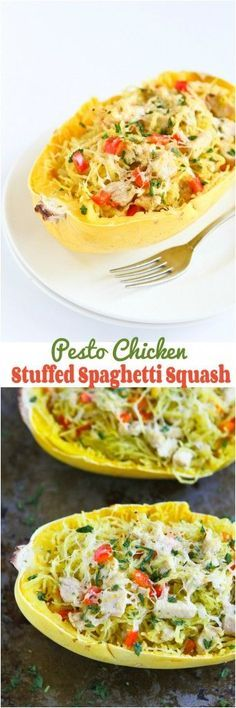 Pesto Chicken Stuffed Spaghetti Squash - 227 calories and 6 Weight Watchers PP | cookincanuck.com #recipe