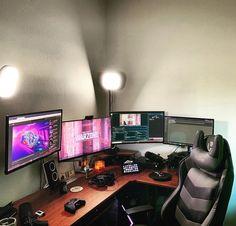 Pc Setup, Gaming Setup, Hobby Desk, Game Art, Battle, Ideas, Quartos, Interiors, Houses