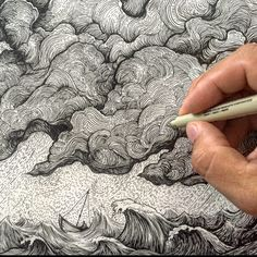 By Jeremy Collins There are curved lines in the clouds and in the waves. Inspiration Art, Art Inspo, Ink Illustrations, Illustration Art, Stylo Art, Arte Sketchbook, Sketchbook Ideas, Ink Pen Drawings, Poses References