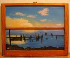 Florida Pier painted window