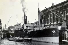 Ships unloading London Docks