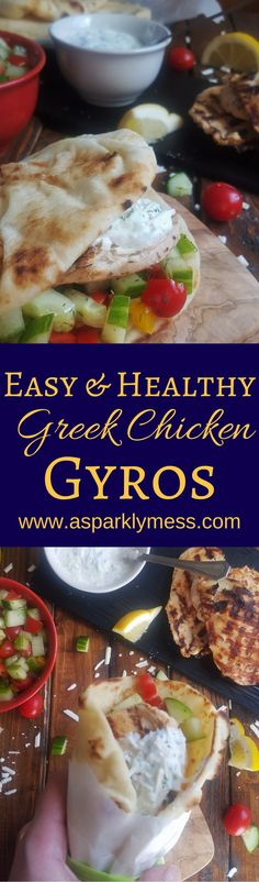 An Easy Greek Chicken Gyro recipe with tender, smokey and flavorful chicken and a delicious Tzatziki yogurt sauce served over crisp veggies and warm pita bread.