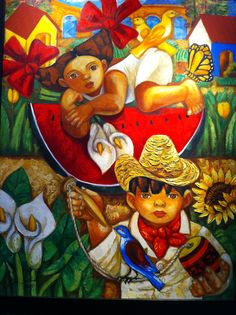Artista Aida Emart, niños, colores y flores