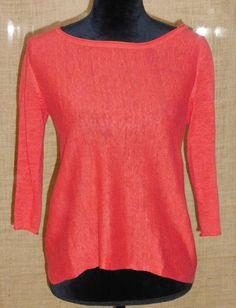 Eileen Fisher women's knit 100% linen long sleeve sweater orange size XS #EileenFisher #Crewneck #Work