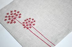 Red Queen Ann Placemat , Linen Placemats Set of Embroidered Placemats, Red Flower on Linen Placemats, Table Linen, Modern Placemats Modern Placemats, Linen Placemats, Linen Napkins, Cloth Napkins, Placemat Diy, Hand Embroidery Designs, Diy Embroidery, Cross Stitch Embroidery, Embroidery Patterns