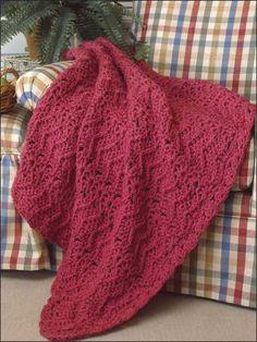 Free Rhapsody in Rose Afghan Crochet Pattern -- Download this free crochet afghan pattern from FreePatterns.com.