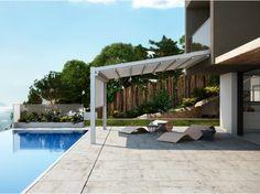 Anbau Terrassenüberdachung aus Aluminium mit Faltdach FUSION by PRATIC F.lli ORIOLI