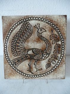 70er Jahre Design Keramik Wandfliese / Wandbild Vogel-Motiv 31cm x 31cm (A170)XX