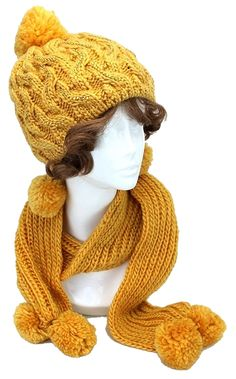 Yellow Gold Rhinestone Pom Pom  Accent Knitted Winter  Scarf and Beanie Hat  Set. Get the lowest price on Yellow Gold Rhinestone Pom Pom  Accent Knitted Winter  Scarf and Beanie Hat  Set and other fabulous designer clothing and accessories! Shop Tradesy now