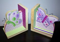 Lilac Butterfly Girls Bookends Kids Bedroom Baby Nursery Wood Bookends