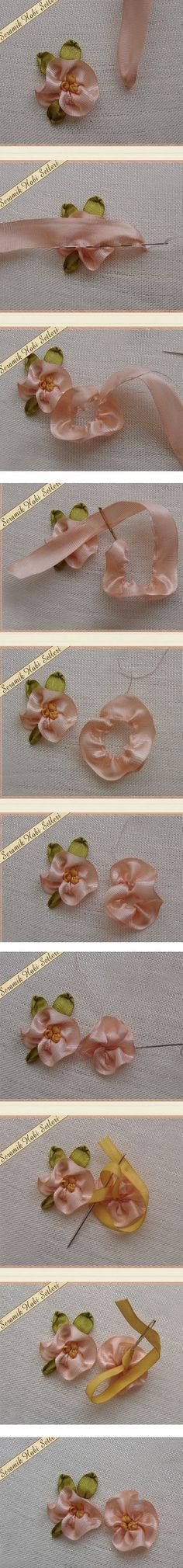 Sweet ribbonwork blossom - idea for embellishment! :)