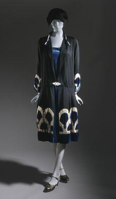 * Woman's Coat Dress and Slip - Silk faille and silk velvet with silk velvet and lamé appliqué - circa 1926 Lucien Lelong (France, 1889-1958)