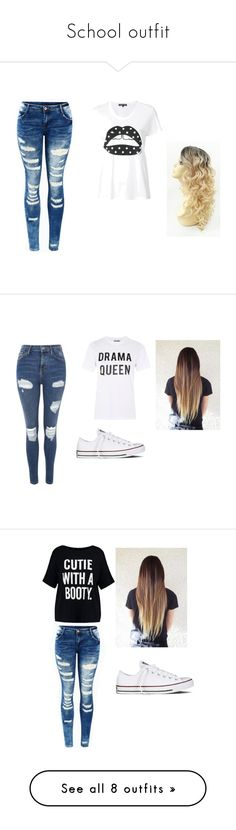 """""""School outfit"""" by person-228 on Polyvore featuring Markus Lupfer, Topshop, Love, Converse, Boohoo, Yeezy by Kanye West, WithChic, Ted Baker, adidas and Alexander McQueen"""