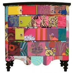 Chest Of Drawers crazy colour - wallpaper patchwork chest of drawers. I am definitely going to start collecting wallpaper swatches now!crazy colour - wallpaper patchwork chest of drawers. I am definitely going to start collecting wallpaper swatches now! Hand Painted Furniture, Funky Furniture, Upcycled Furniture, Furniture Makeover, Plywood Furniture, How To Decoupage Furniture, Decoupage Dresser, Bedroom Furniture, Recycling Furniture