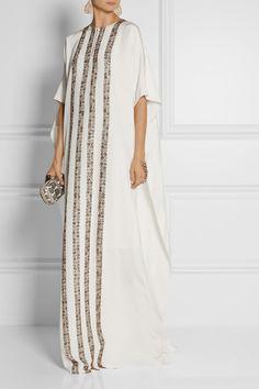 YAAASSSS!!!  OSCAR DE LA RENTA Embellished woven silk kaftan